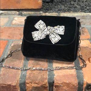 White House Black Market black velvet clutch